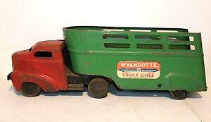 "Vintage 1940s WYANDOTTE Red & Green TRUCK LINES Semi Tractor Trailer 24"" Steel"