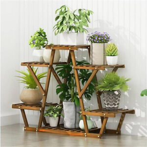 Heavy Duty Pine Wood Plant Stand Triangle In-Outdoor Flower Succulent Pots Shelf