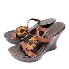 Aldo Womens Wedge Mule Slide Flower Leather EU 37 US 6.5 Made in Italy