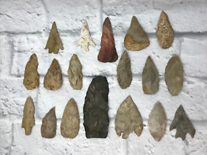 Lot of 18 Big TEXAS AUTHENTIC ARROWHEADs ARTIFACTs SPEARHEADs Flake Black Red A8