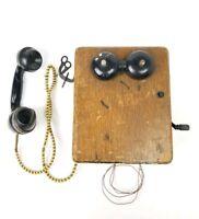Antique Telephone Stromberg Carlson Oak Wood Box Hank Crank Wall Telephone Vtg