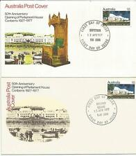 Australia Fdc 1977 50th Anniversary Opening Parliament House Canberra-2 Covers