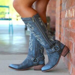 New Women's Round Toe Block Heels Knee High Boots Denim Floral embroidery Shoes