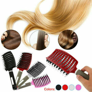 Natural Boar Bristle Detangling Nylon Brush Large curved curly hair styling  US
