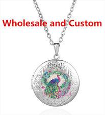 Locket Pendant Necklace Hz-5933 Peacock Cabochon Tibetan silver Glass