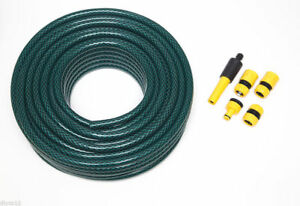 Green Garden Hose Pipe Reinforced Length 40M Bore 12Mm WITH FIXING Tools