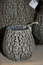 * Cozy Room Vase Windlicht Metall mit Glaseinsatz Tropfenform Shabby mini