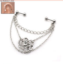 Rhinstone Rose Flower Steel Industrial Barbell Ear Body Jewellery Helix Fashion