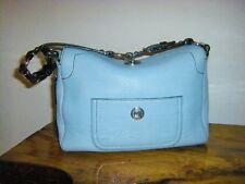 02e80712f8 COACH CHELSEA Hobo Turnlock Top Flap Baby Blue Pebbled Leather Style 8A38