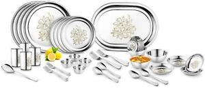 Jensons Daisy 42 Pcs Heavy Stainless Steel Dinner Set Pack of 42-3ET