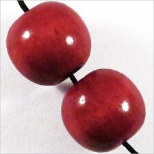 Lot de 20 Perles Rondes en Bois 16mm Rouge Bordeaux
