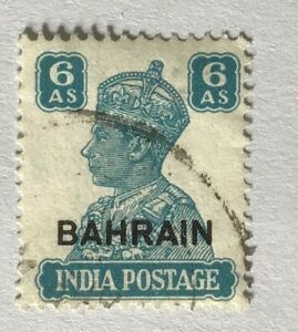 Bahrain George VI 1942 6a Turquoise green used SG 48. (Cat £12)