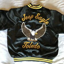 Vintage Satin Bomber Jacket Jeep Eagle Toledo Size Large Black Pre-owned