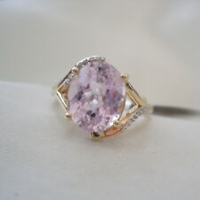 3.59ct Unenhanced Kunzite & Diamond Gold Ring