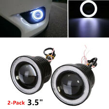 "2* 3.5"" Angel Eyes LED Fog Light Car SUV Universal White Driving Head Lamp 12V"