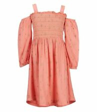 Jessica Simpson Off the Shoulder Star Print Dress Size S (7) Small SHELL PINK