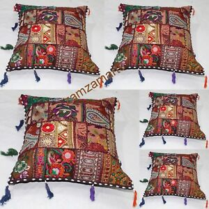 "Indian 5 PCs Lot Brown Cushion Cover Patchwork Square Pillow Case 16x16""Handmade"