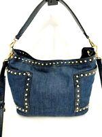 Steve Madden Denim Convertible Crossbody Bag Gold Studs Medium Purse Handbag