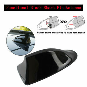 ALL BLACK Spectacular Shark Fin Antenna Stereo Cover Car Signal Radio Aerial