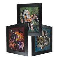 3 Dimension 3D Lenticular Picture Native Indian American Tribe Wolf Horse Eagle