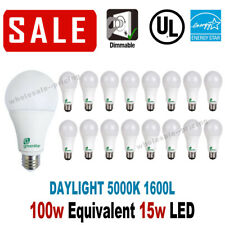 16 LED Light Bulbs 15W / 100W Replacement 1600L Daylight 5000K A19 Dimmable E26