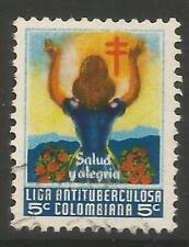 stamps-colombia. 1951. Noël - 5c Anti T.B.Charité Affiche timbre. Annulé