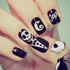 24pcs Women Fashion Beauty Short Style Black&White Skull False Nail Art Stickers