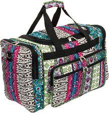 "Womens 19"" Boho Print Carry On Travel Tote Weekender Duffel Bag w/ Black Trim"