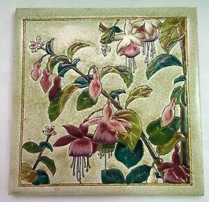 Most Gorgeous rare LONGWY FUCHSIA Flowers Art Nouveau Tile Jugendstil Carreaeau