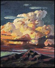 HAWKINS Original Clouds Western Landscape Impressionism Oil Painting Art  Signed