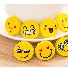 4Pcs Students School Supplies Kids Stationery Funny Emoji Pencil Eraser Rubber