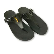 FitFlop Womens T-Strap Sandals Black Buckle Slip On US 8, EU 39