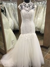 NWT 2454 Alfred Angelo Wedding Bridal  Fit N Flare Ivory Size 10