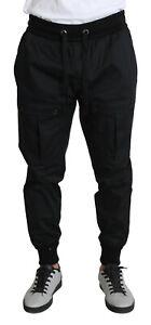 Dolce & Gabbana Pantalon Noir Coton Extensible Jogging Pantalon IT52/W38 / XL