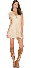 $128 Free People One Million Lovers Sexy Lace Mini Dress Ivory Beige Sz 10 M NWT