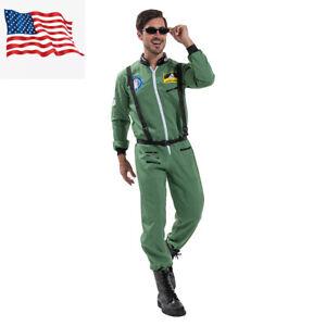 ASTRONAUT JUMPSUIT COSTUME NASA GREEN SHUTTLE SHIP MOON SPACE SUIT ADULT MENS