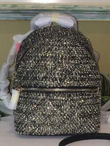 KATE SPADE NATALIA MINI CONVERTIBLE BACKPACK BAG BLACK SPARKLE GOLD TWEED LEATHE