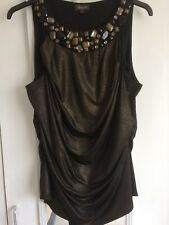 Ladies evening party top by Alexon embellished size 16 to 18 shimmery bronze