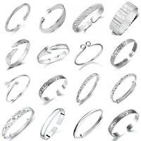 925 Sterling Silver Bangle Cuff Bracelet Wristband Fashion Women Jewelry Gifts