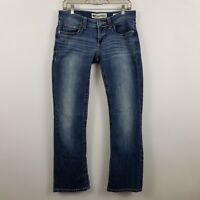 BKE Denim Buckle Boot Cut Distress Women's Medium Wash Blue Jeans Size 28r 28