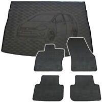 Gummi Fußmatten Kofferraumwanne Set für VW Golf Sportsvan Automatten Gummimatten