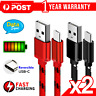 2x Fast Charging USB Type C Cable For Samsung Galaxy S9 S10 S20 PLUS Note 10 10+