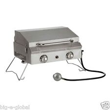 Outdoor Portable Stainless Steel Gas BBQ Grill with Lid 20,000 BTU 2 Burners