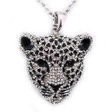 Twinkling Big Leopard Head Animal Use Czech Crystal Necklace