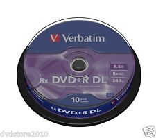 10 DVD +R DUAL LAYER 8x VERBATIM per XBOX 360 DOUBLE DL