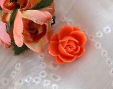 ~Cameo Rose Button~ Vintage Cameo~Acrylic 19X21mm~ Orange Wild Rose
