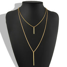 Celebrity Womens infinity Simple Chain Necklace Gold Vertical Stick Bar Pendant