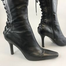 River Island 39 UK6 Black Leather Mid Calf Zip Lace Up Sexy Heels Booties Boots