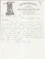 1883 Illustrated Letterhead, Hoyt Bros. (Lynn, MA) Lightning Bottle Washer