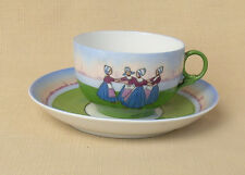 Antique Cup and Saucer, Dancing Dutch Figures, No Makers Mark